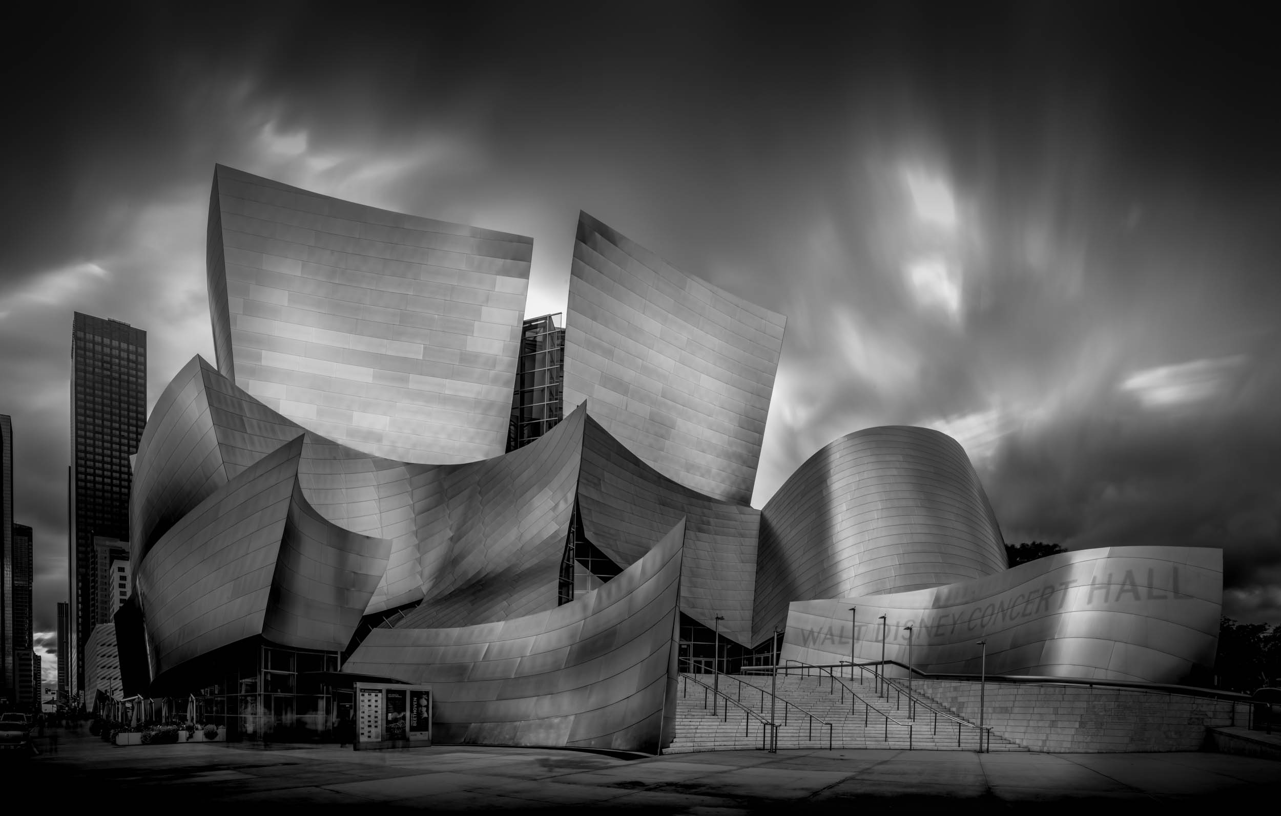 Walt Disney Concert Hall, eight long exposures photography stitched together.