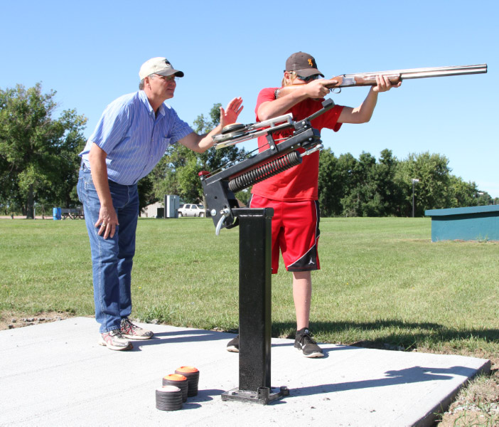 Nick Hanisch and dad Chris, using our new manual trap thrower