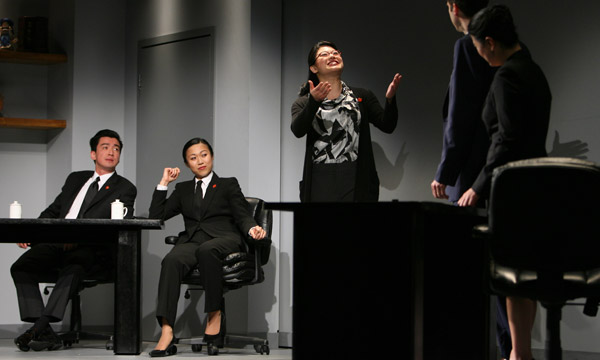 Christine as Miss Zhao translating away! With Johnny Wu, Angela Lin, James Waterston, and Jennifer Lim.