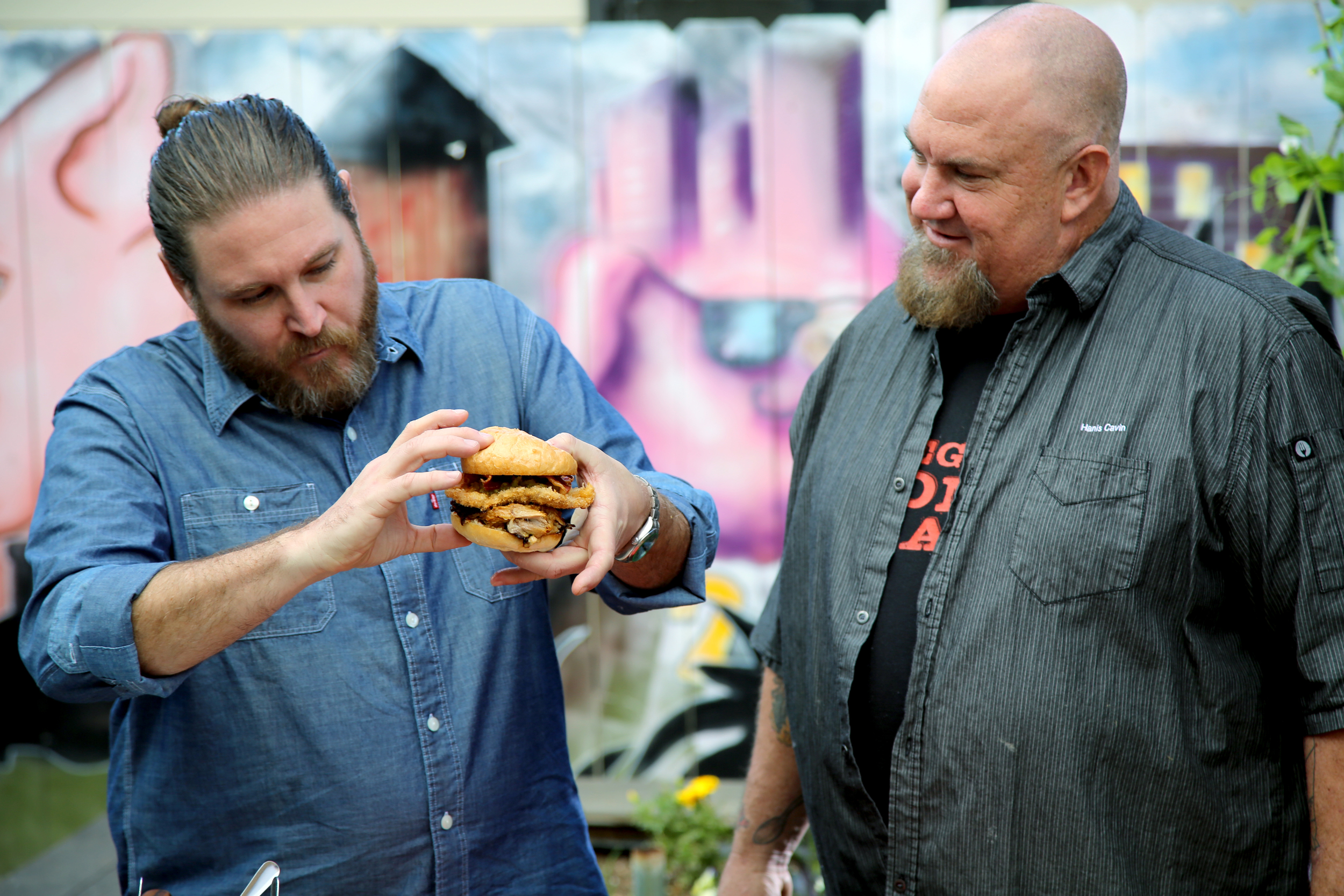 Chef David LeFevre (left) and Chef Hanis Cavin at Carnitas Snack Shack