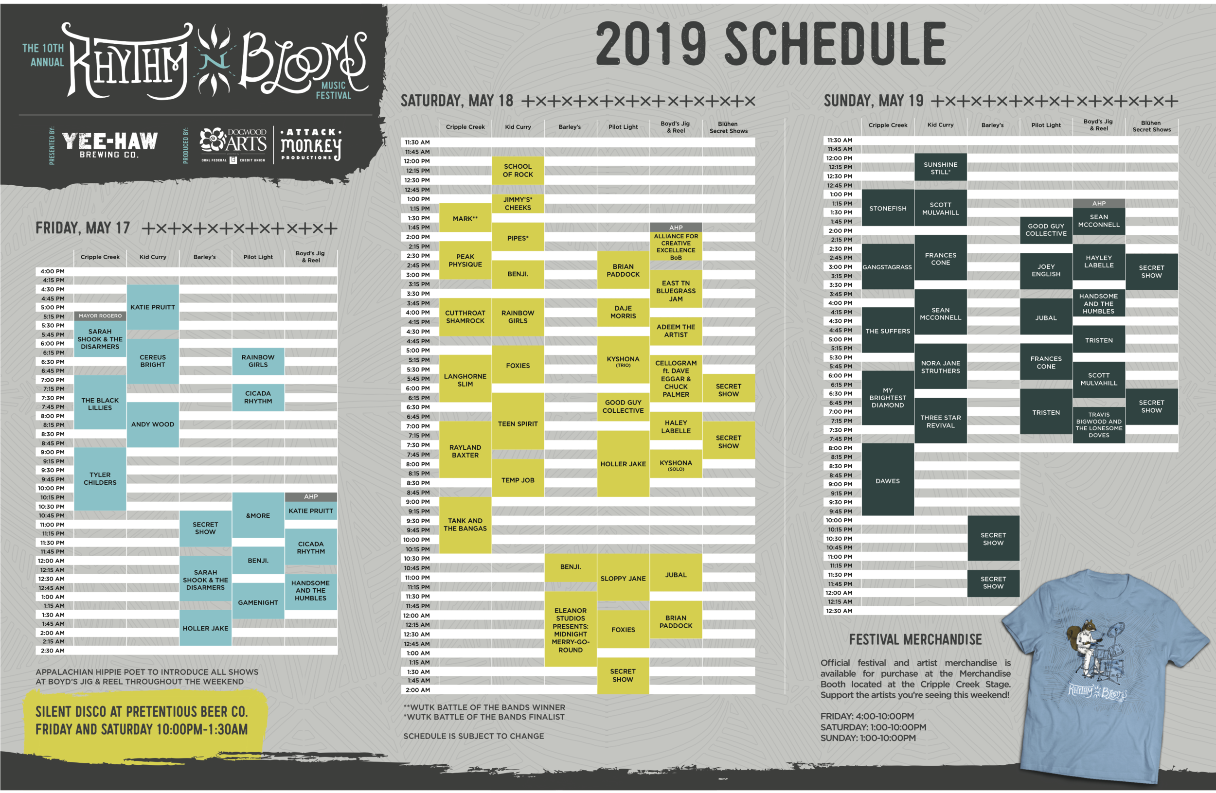 Printable schedule | Click to enlarge