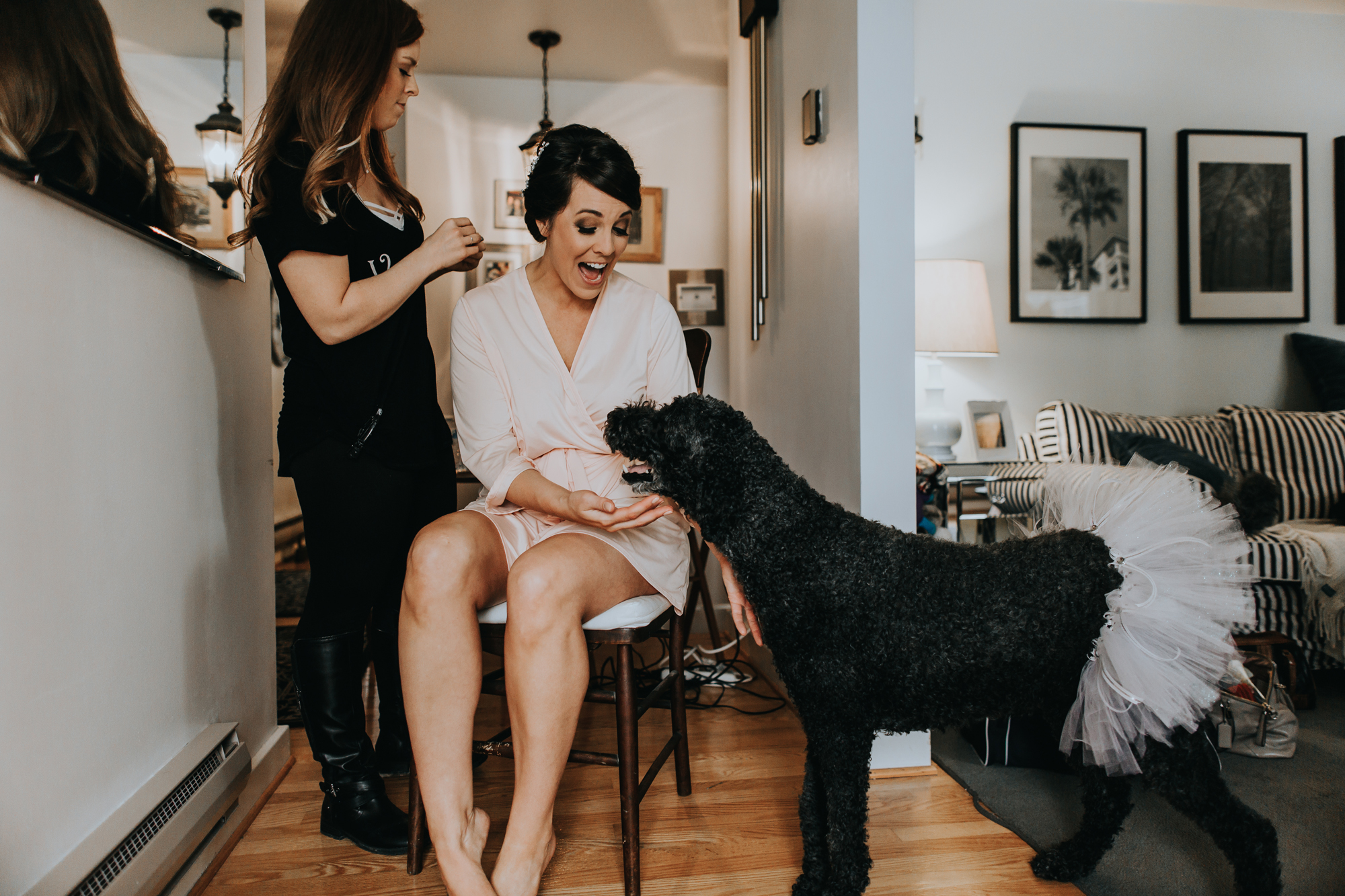 candid-getting-ready-wedding-day-photography-with-puppy