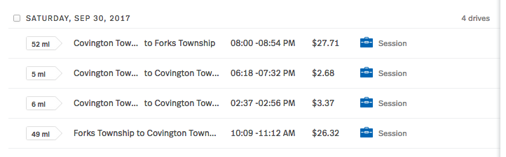 In this example image from our MileIQ dashboard, you can see the information we are presented with including number of miles per drive, the driving locations (from our home in Forks Township to some session sites in Covington Township), as well as the time of these drives, reimbursement amount, and classification.