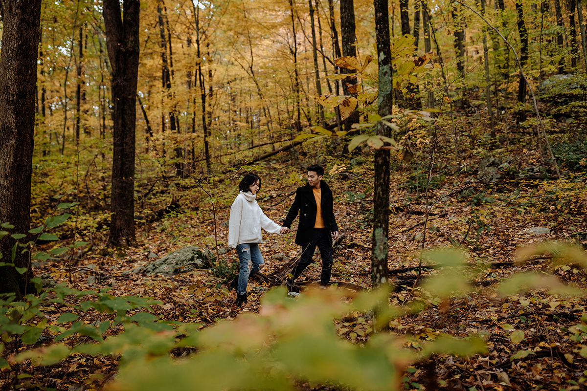 walking-through-the-woods-fall-engagement-session-nj