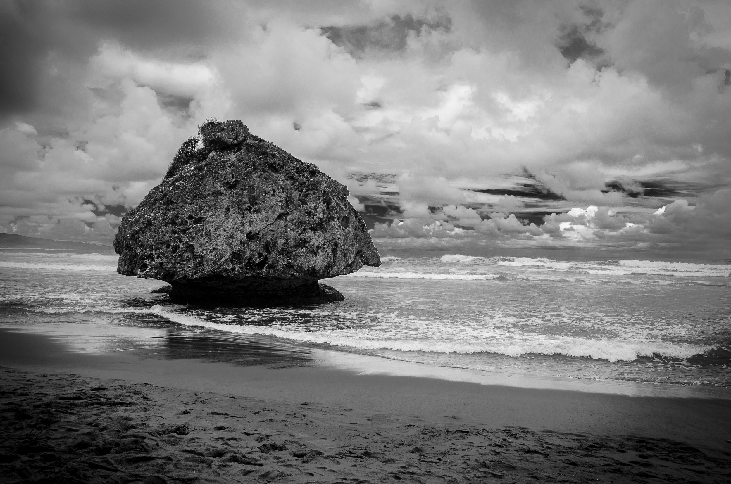 Mushroom shaped rocks on the beach at Bathsheba