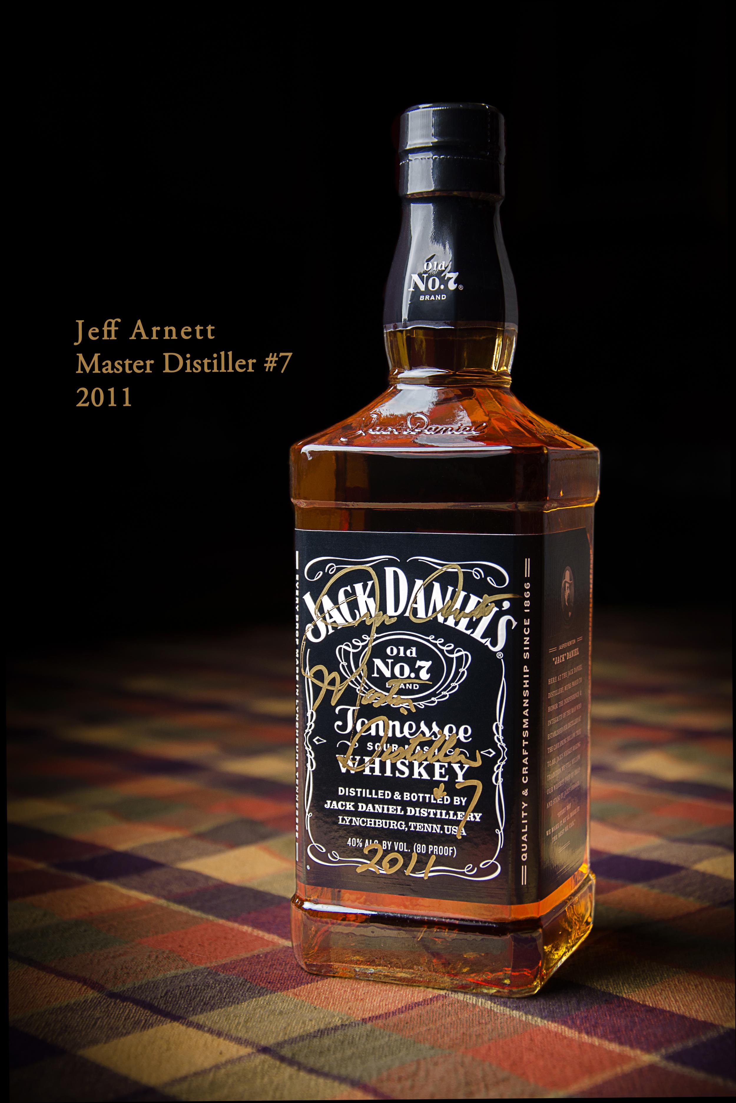 Jack Daniel's bottle signed by Jeff Arnett, Master Distiller #7, in October 2011. (Photo taken September 2013)
