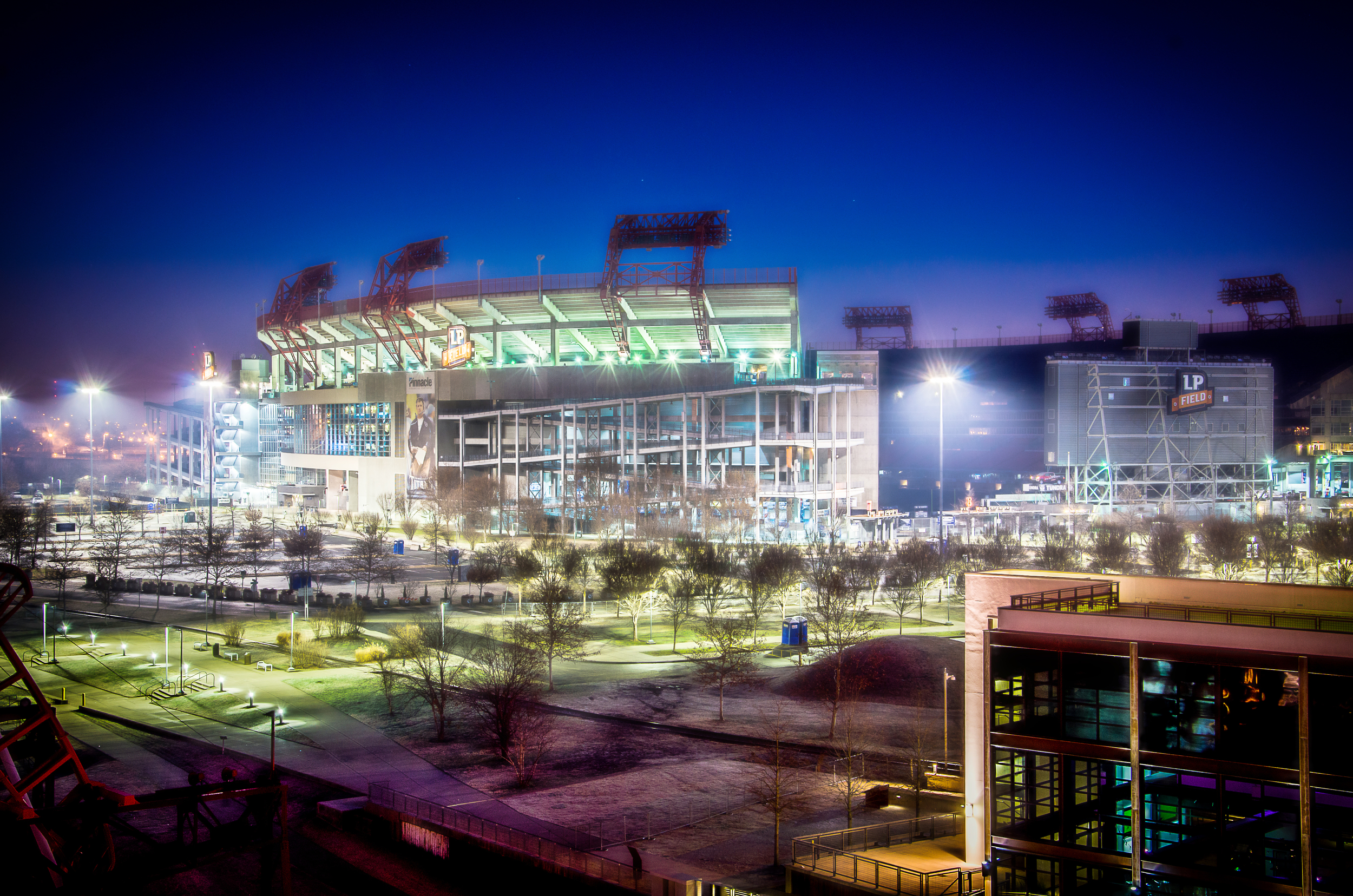 This is a shot of LP Field, Tennessee Titan's stadium from the pedestrian bridge in Nashville, TN January 1, 2014