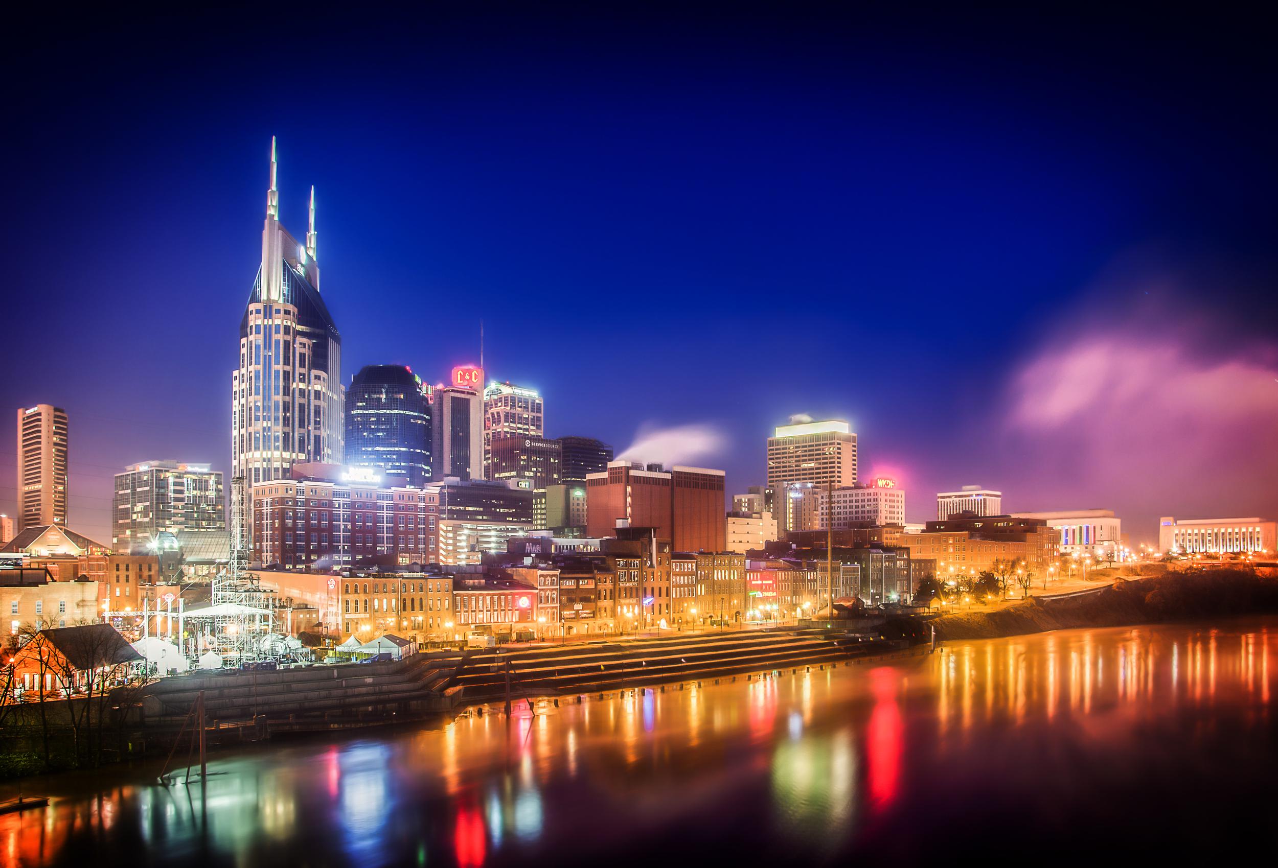 This is a shot of the Nashville Skyline from the pedestrian bridge. Nashville, TN January 1, 2014