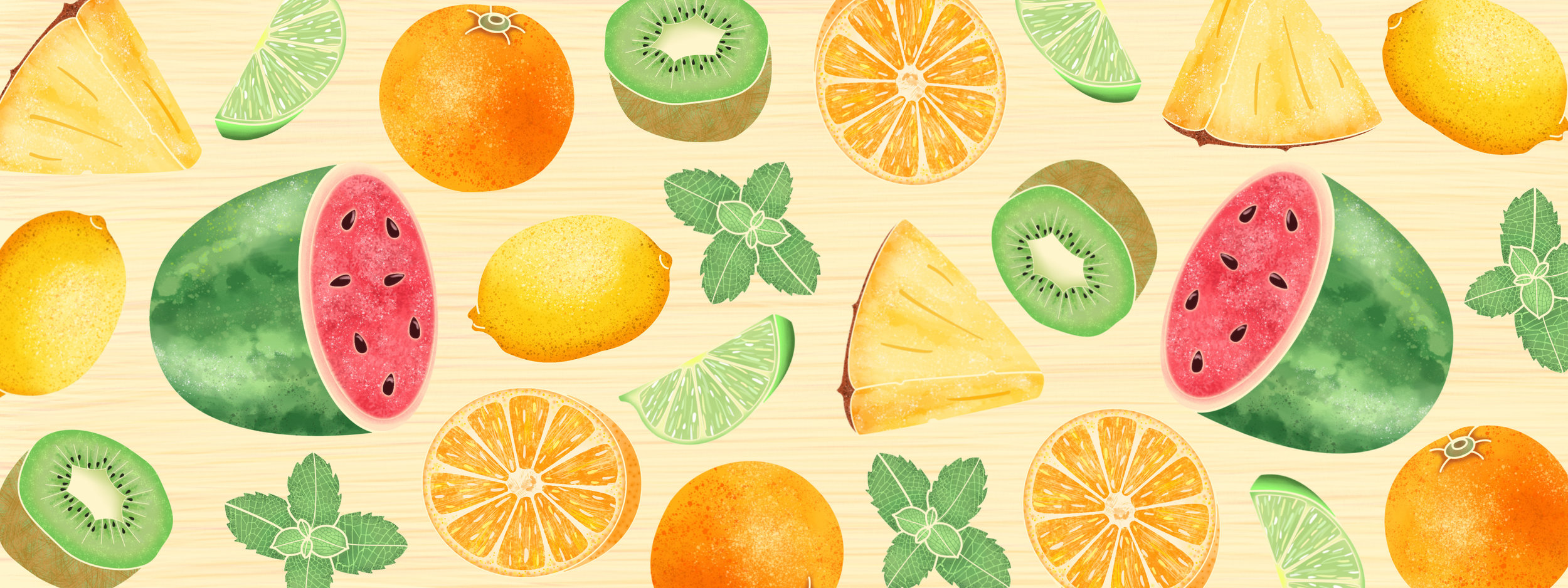 Juicy fruit: watermelon, lemon, lime, orange, pineapple, kiwi and mint.