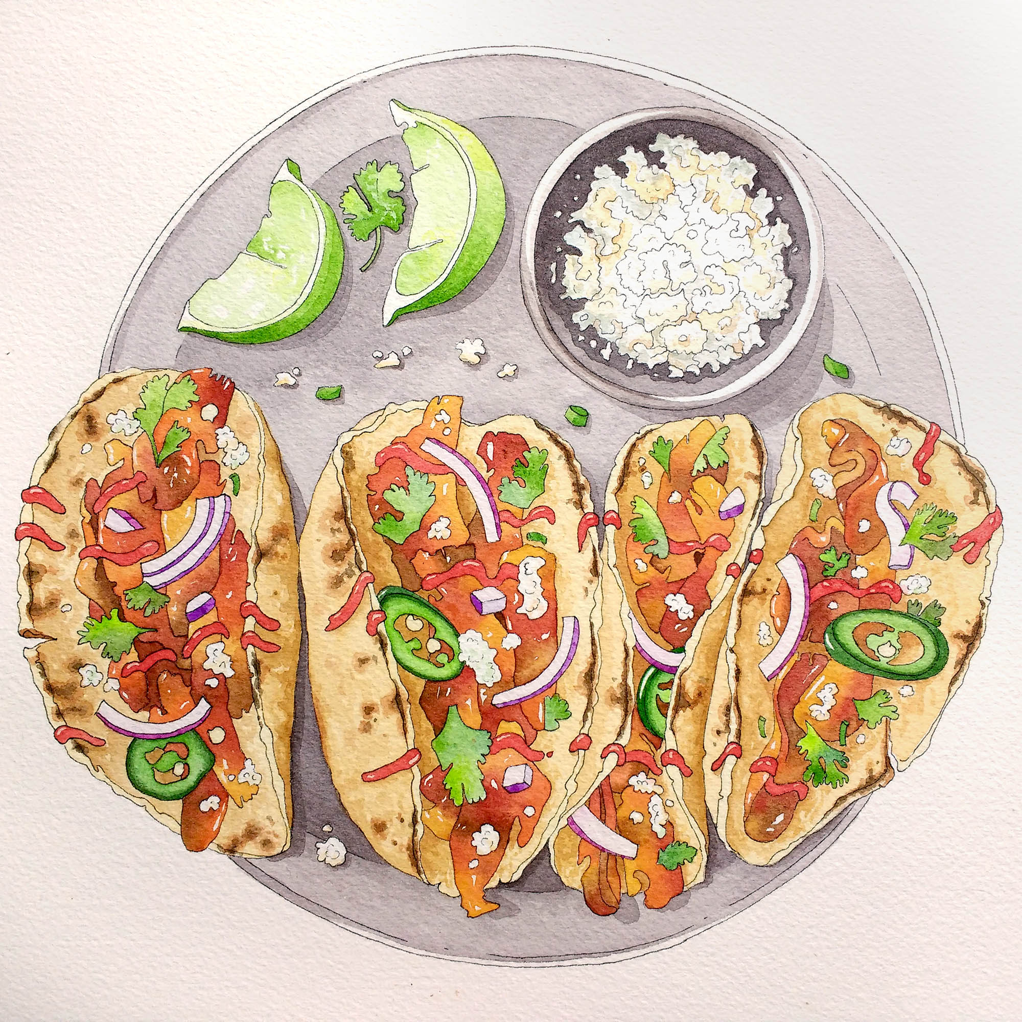 Finished watercolor food illustration