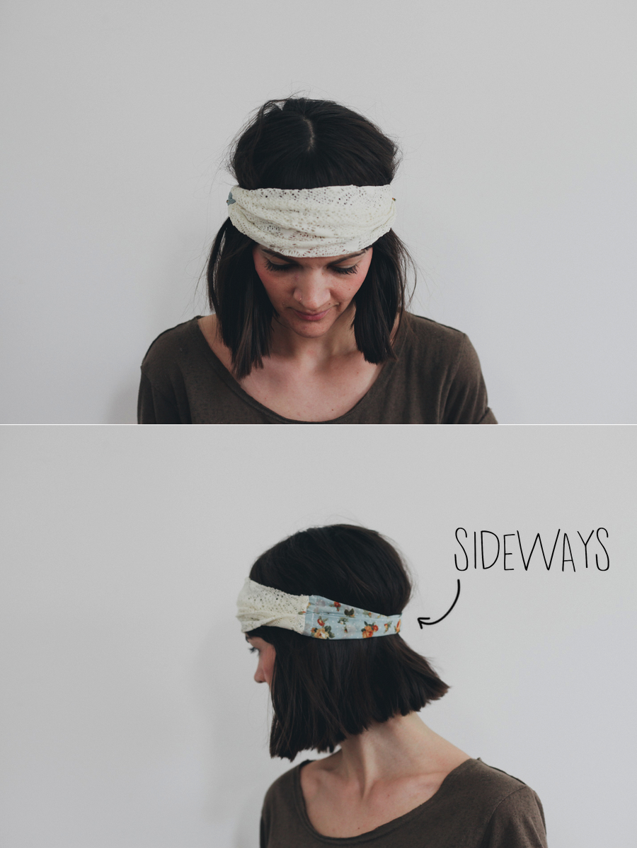 Sideways //   Wear the headband sideways over top of your hair so that you have one solid pattern in the front , and a different one around the back. Spread the fabric out at the front to cover your forehead, and keep it bunched up together for a smaller band across the back