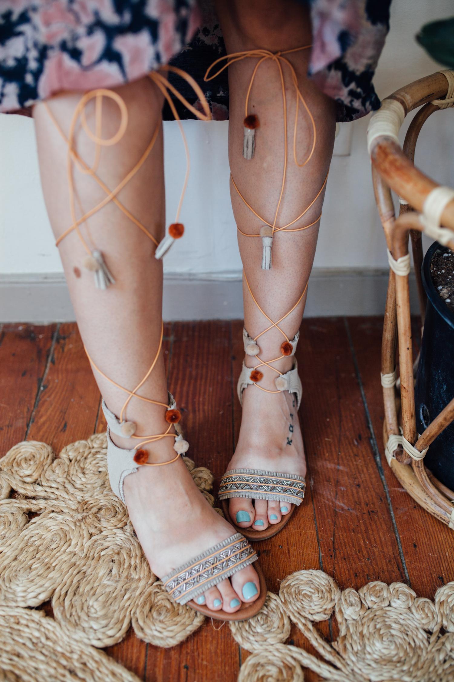 Minnetonka Tie-up Sandals DIY