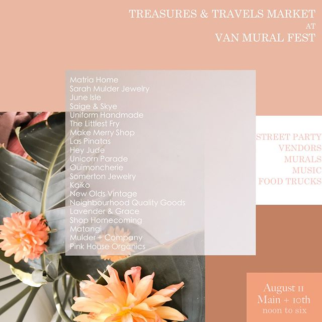Today is the day! If you're checking out all the happenings at @vanmuralfest be sure to come check out this amazing group of vendors right at Main + 10th ✨