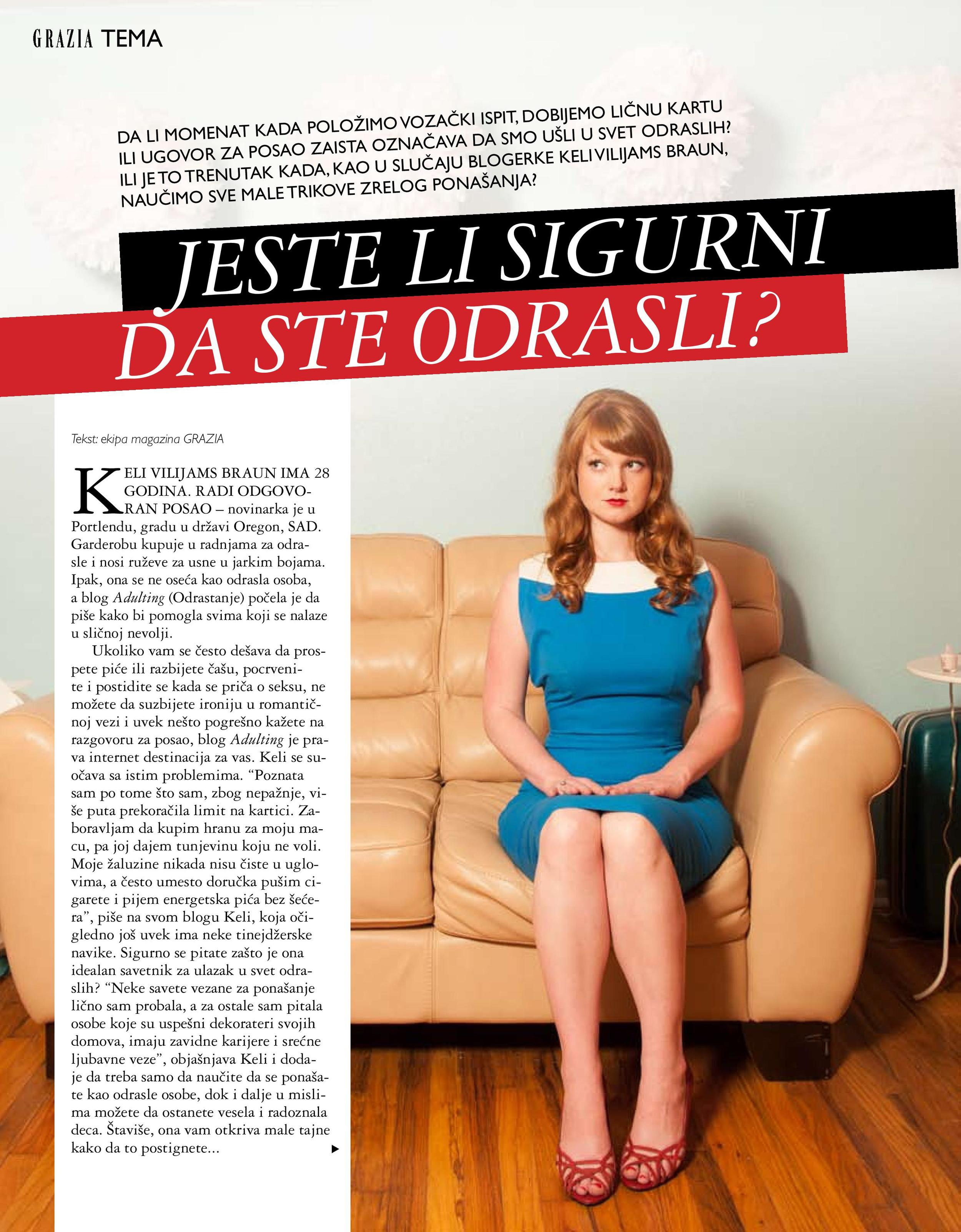 Grazia Serbia, Feb. 2013. Also, it should be said that I really, really wish my name was Keli Vilijams Braun.