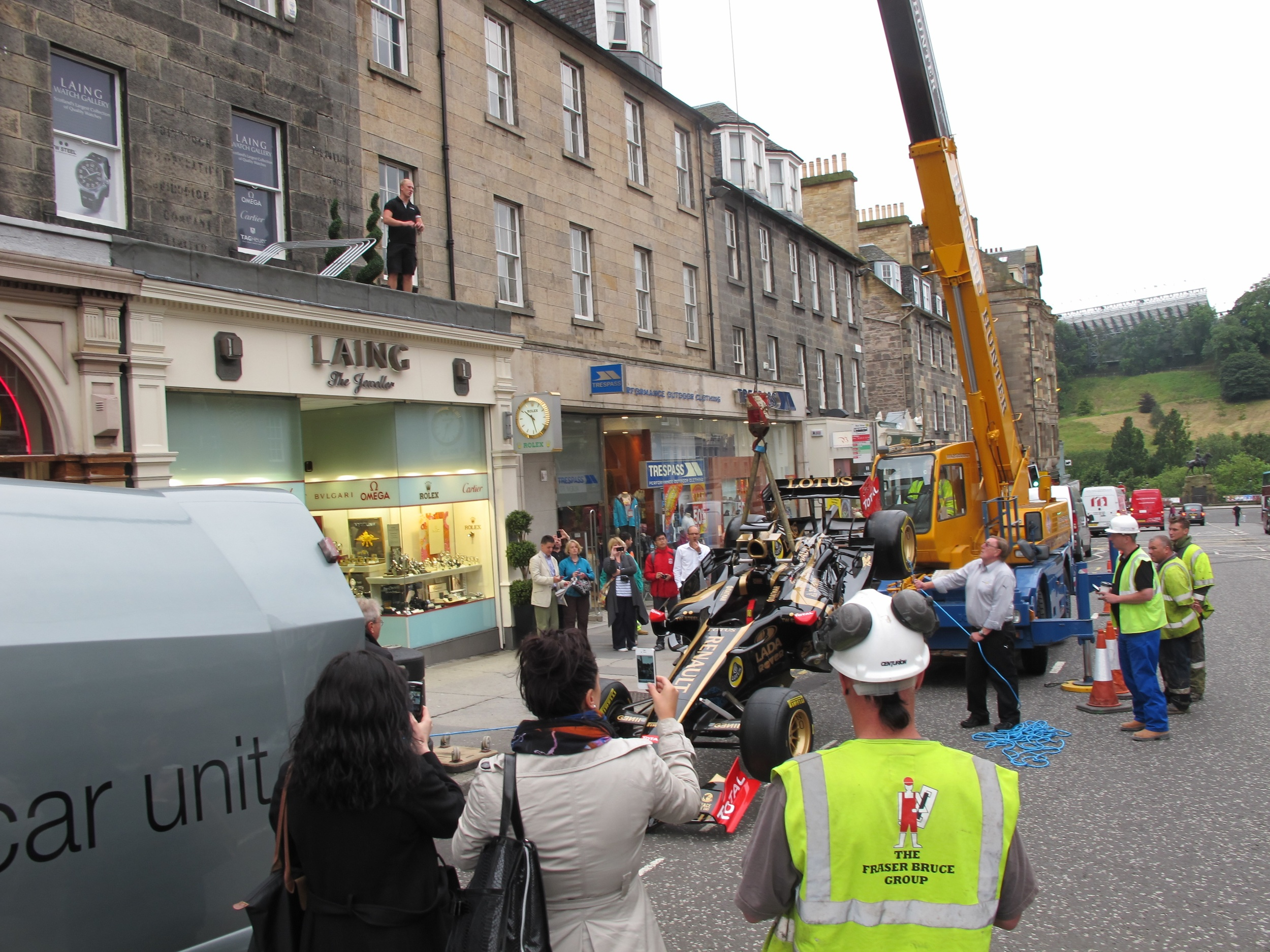 An F1 Lotus Renault served up on a shop roof in Edinburgh 2011