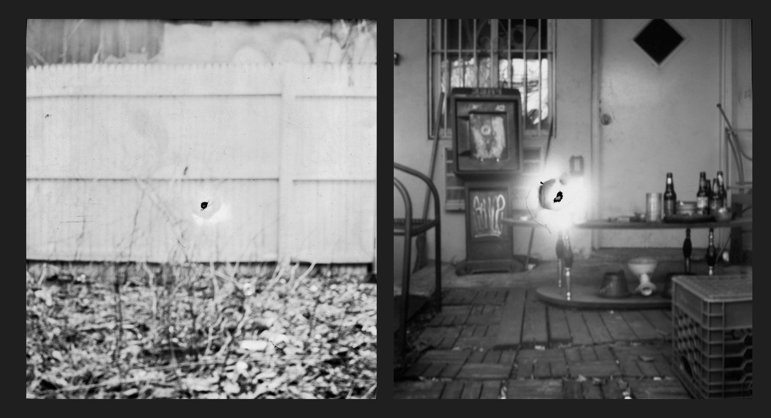 Black and white photo paper negative   2-way pin hole camera   8x10 pin hole camera