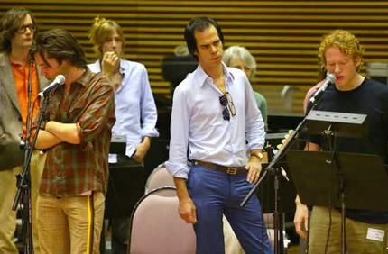 They came so far for him: from left, Jarvis Cocker, Rufus Wainwright, Beth Orton, Nick Cave and Teddy Thompson at rehearsal for the Leonard Cohen show in Sydney. Photo: Dallas Kilponen