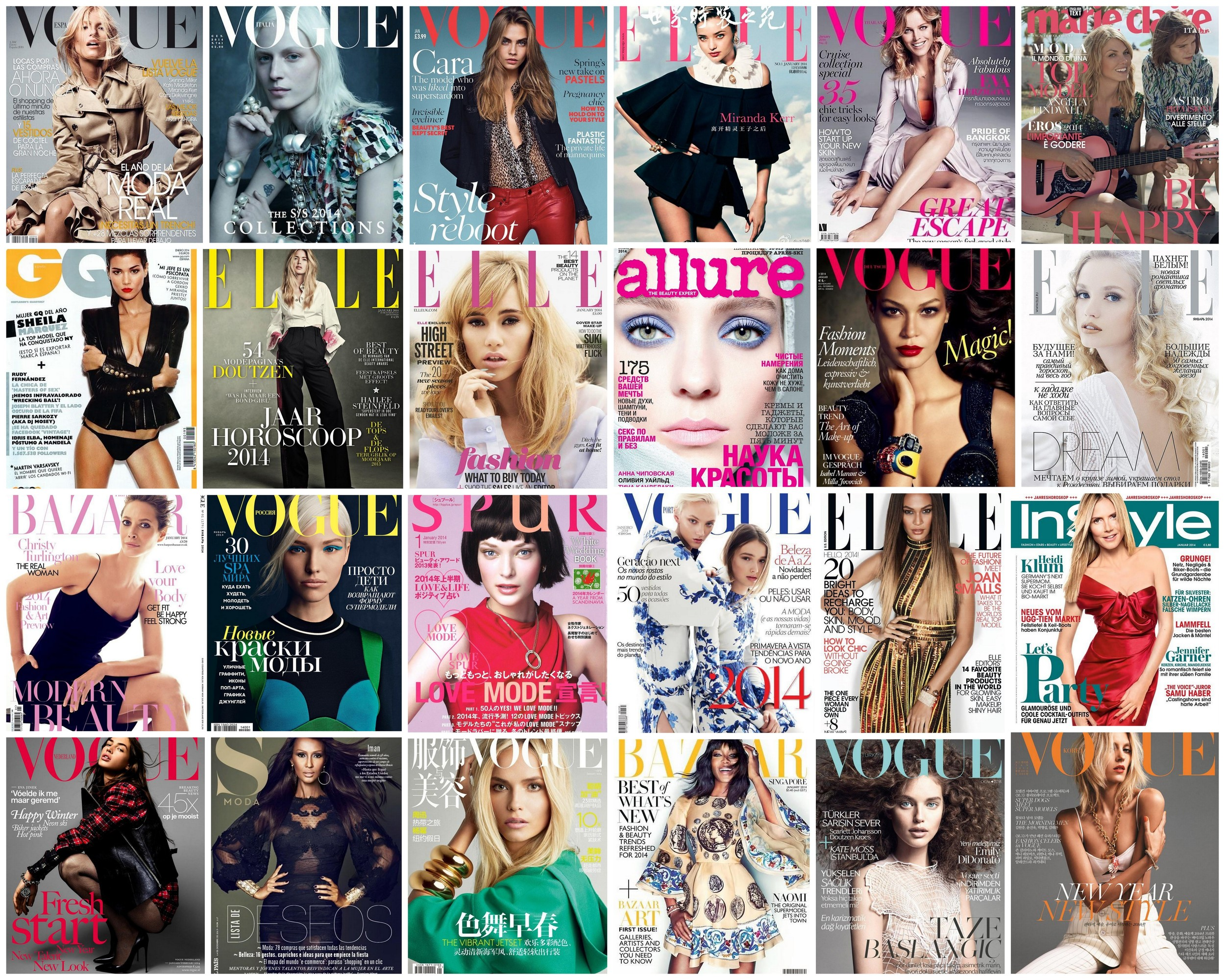 The January 2014 covers featuring a model