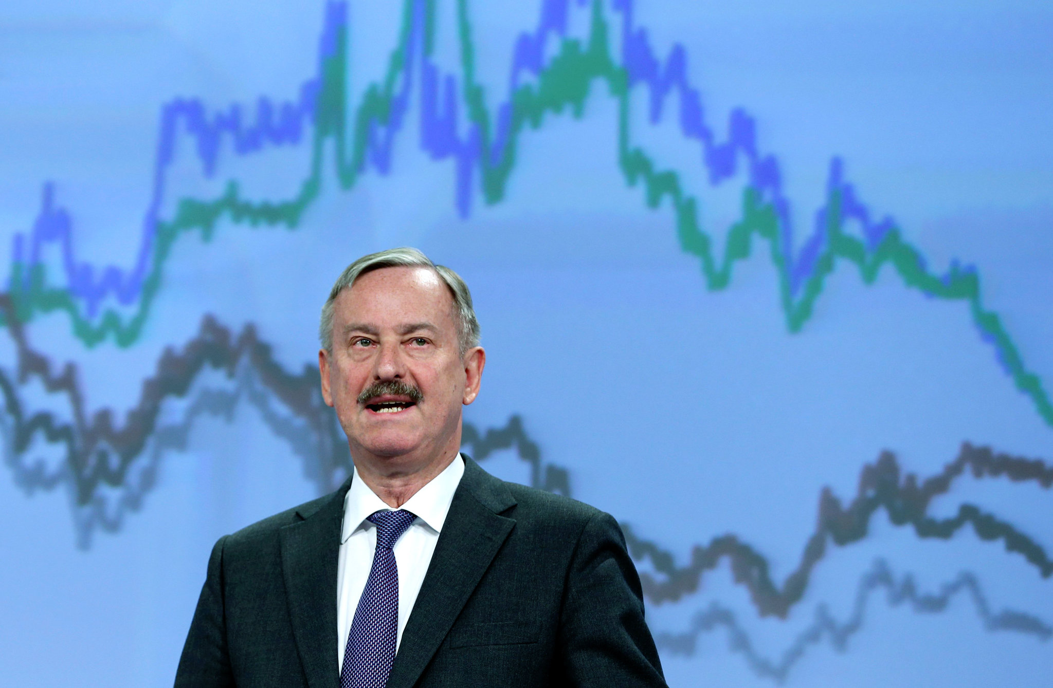 Siim Kallas, vice president of the European Commission, during a press conference in Brussels.|Francois Lenoir/Reuters