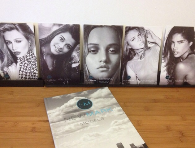 newMARK composite cards (L-R: Cailin Russo, Ellie Hahn, Estephanie Zermeno, Makayla Marie, and Rachel Barnes) and portfolio