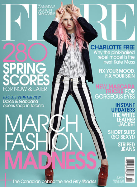American citizen Charlotte Free covers the March 2013 issue of Canadian fashion magazine Flare |  Source