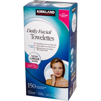 Kirkland Signature Daily Facial Towelettes, $12 for 150   Costco