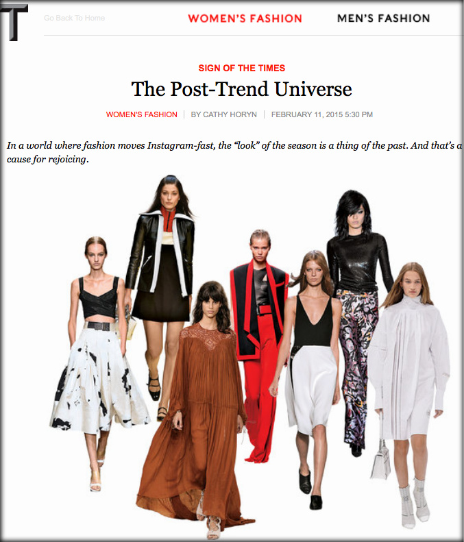 Screen shot of Horyn's editorial 'The Post-Trend Universe' |  T Magazine