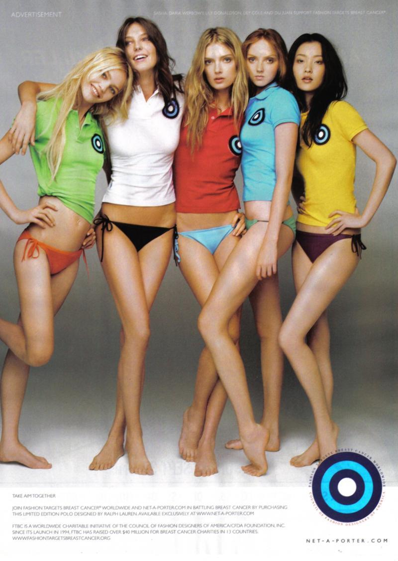 Sasha Pivovarova, Daria Werbowy, Lily Donaldson, Lily Cole, Du Juan for Fashion Targets Breat Cancer campaign SS 2008 |  Source