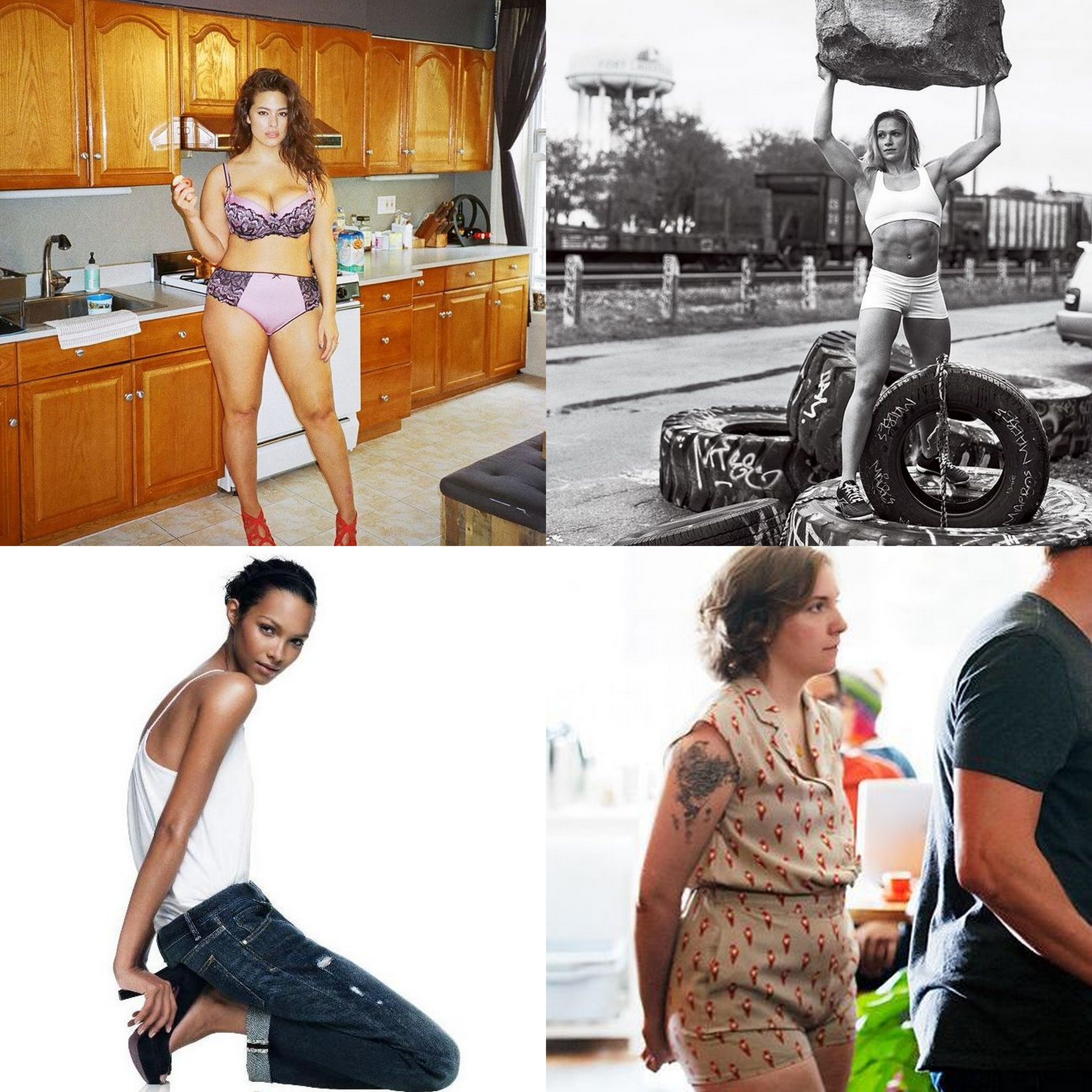 Clockwise: model Ashley Graham via  Refiney29 ; CrossFit athlete Annie Thorisdottir in   Vogue   by Bruce Weber; actress and writer Lena Dunham in HBO's   Girls  ; model Lais Ribiero for  Gap  FW 2010 by Craig McDean
