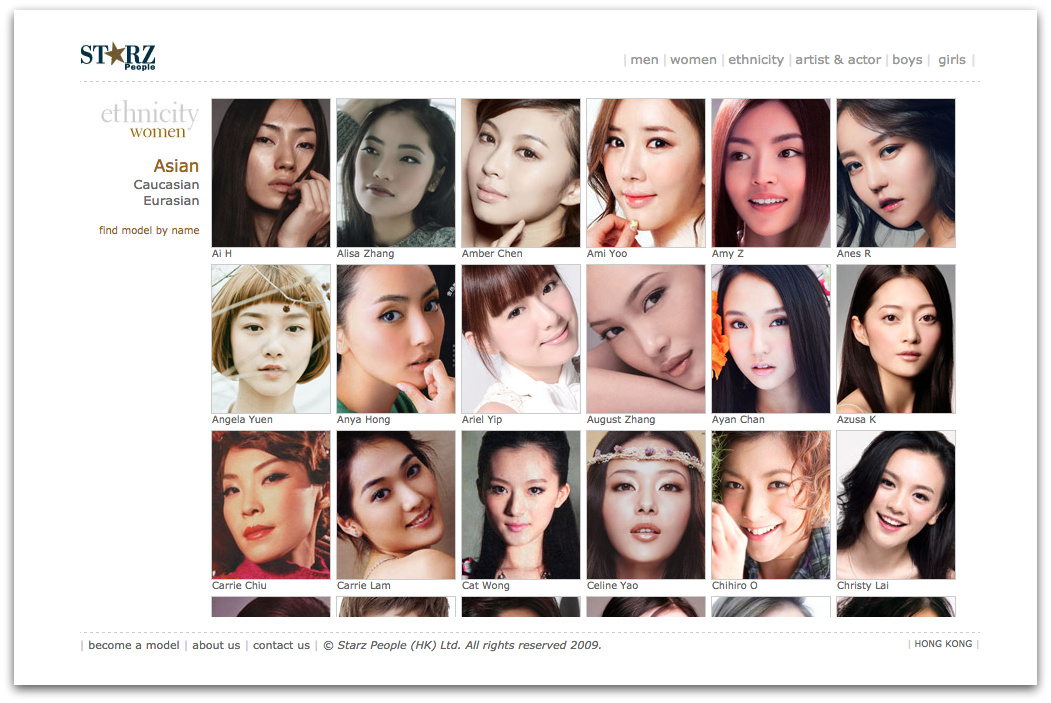 A screen shot of the website of Starz People, a top Hong Kong agency. As per the norm in East Asian markets, models are divided by ethnicity    Source