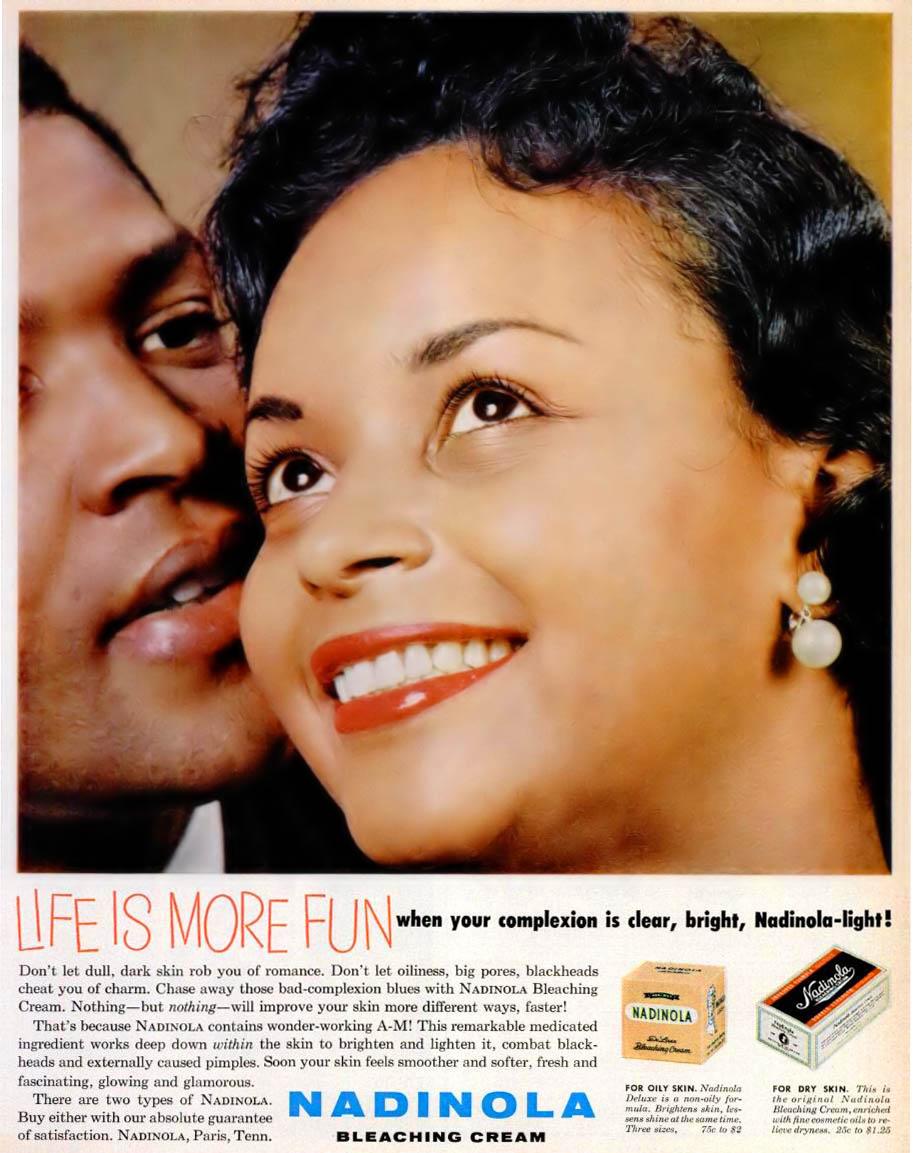 An advertisement for Nadinola Bleaching Cream in  Ebony  Magazine fromJanuary1960    Source