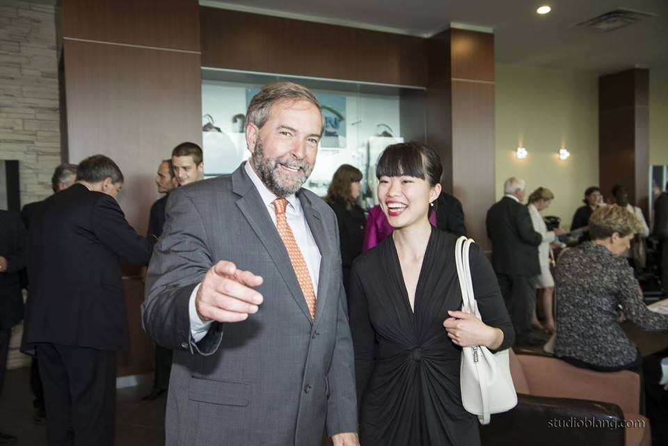 Laurin Liu with Leader of the Official Opposition, NDP Leader Thomas Mulcair    Source