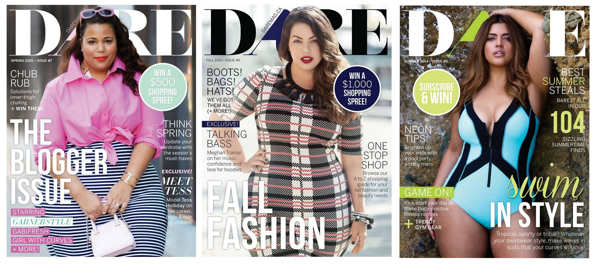 Three covers of  Dare , Canada's first plus-size magazine    Source