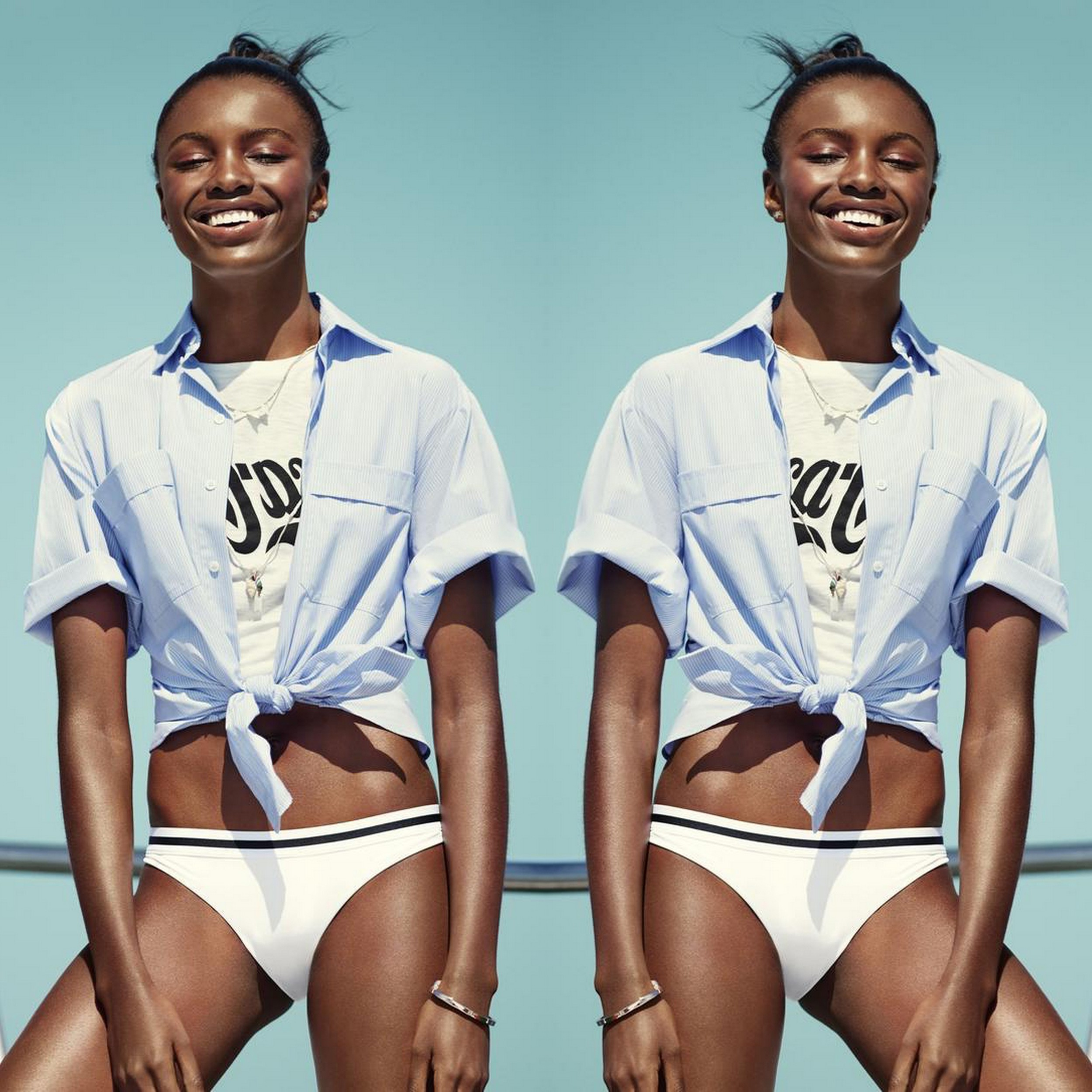 Original image of Leomie Anderson shot by Tom Schirmacher, styled by James Worthington Demolet, make-up by Samantha Trinh for  Seventeen Magazine  June 2015