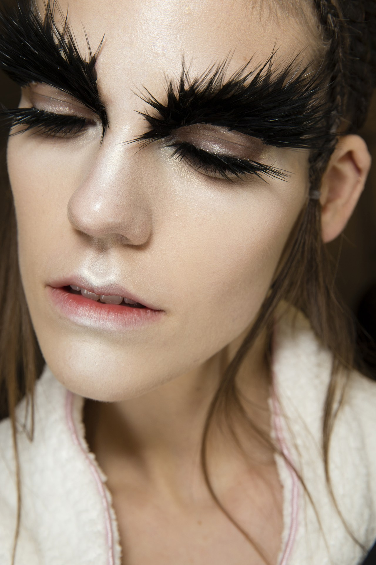 Makeup by Pat McGrath backstage at Alexander McQueen AW2014 ( Source )
