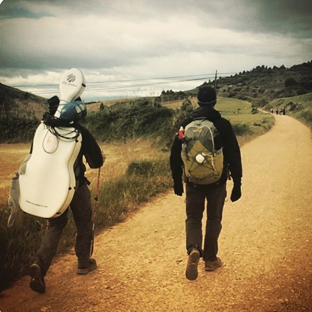 #tbt Summer 2014 Walking the #caminodesantiago with fellow pilgrim and filmmaker Andrew Suzuki (@beyondthewaydoc) #thisisapath #cello #documentary #independent #film @viffest