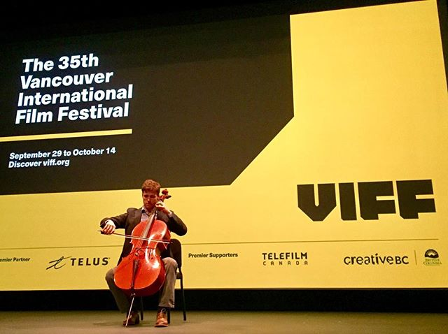 Cellist Dane Johansen in concert at @viffest before the world premiere screening of #StrangersOnTheEarth THANKS to all our friends and family who were able to attend!! #caminodesantiago #documentary #film #VIFF2016