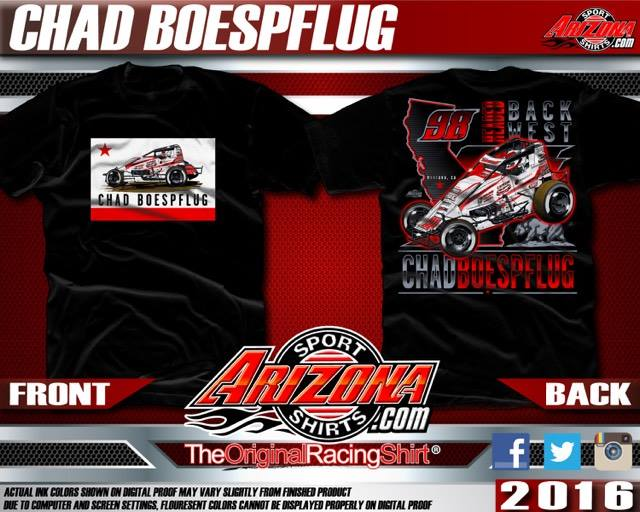 "Brand  NEW   ""Headed Back West""  California Themed Chad Boespflug T-Shirts, Longsleeve T-Shirts, and Hooded Sweatshirts will be Available at both Arizona Speedway & The P.A.S. in the main grandstands. Pre-Order by clicking the image above."