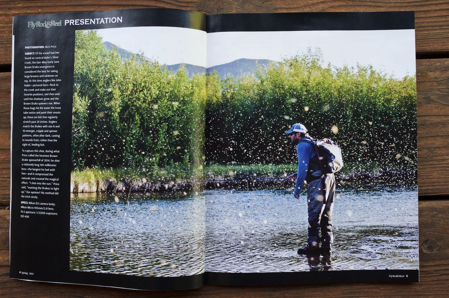 John Huber during a Brown Drake spinner fall from heaven on Silver Creek last year. Fly Rod & Reel Spring 2015 issue. Photo: Nick Price