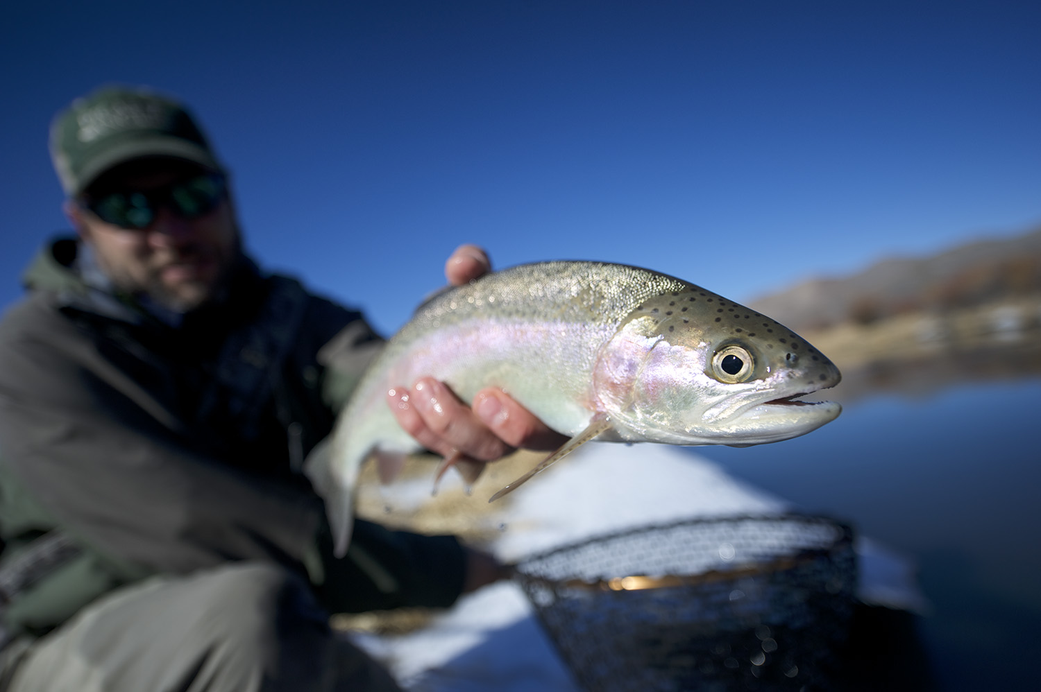 John Huber & a winter rainbow. Silver Creek