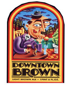 Downtown Brown    (ABV 5.0%)    A smooth, full-bodied nut brown ale, lightly hopped with a hint of roasted and crystal malts. This ale is dark in colour without the heavy taste of porter or stout.