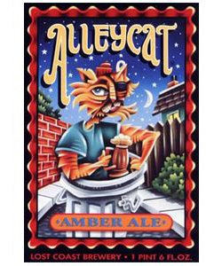 Alleycat Amber Ale    (ABV 5.5%)    a full-flavoured amber ale made with roasted caramel malts. richly coloured and medium-bodied, alleycat is an assertive blend of malts with a sprightly cascade of hops.