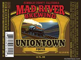 Uniontown Porter    (ABV 6.5%)    This traditionally styled Porter has complex malt characteristics balanced with a mild hop profile. Scottish smoked and peated malts led added complexity and a mild smokey flavor.