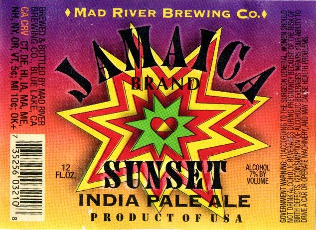 Jamaica Sunset IPA    (ABV 7.0%)    Is a rich light copper India Pale Ale that features a fresh whole hop floral character and a clean crisp finish.
