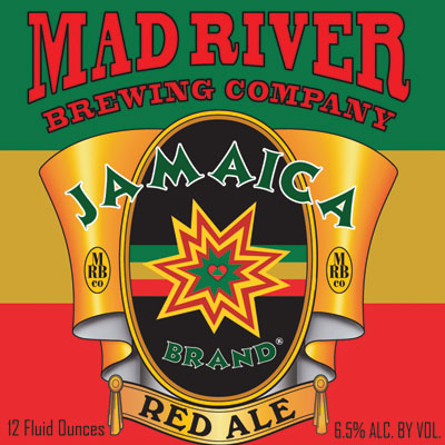 Jamaica Red Ale    (ABV 6.5%)    Mad River's legendary red ale. This mahogany hued ale brings an intense spectrum of spicy aromatic hop character balanced by a full-bodied caramel richness. 2011 Silver Medal winner at the Great American Beer Festival in the American Style Amber/Red Ale category.