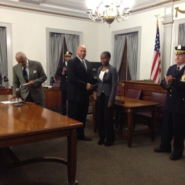 New Probationary Police Officer being sworn in