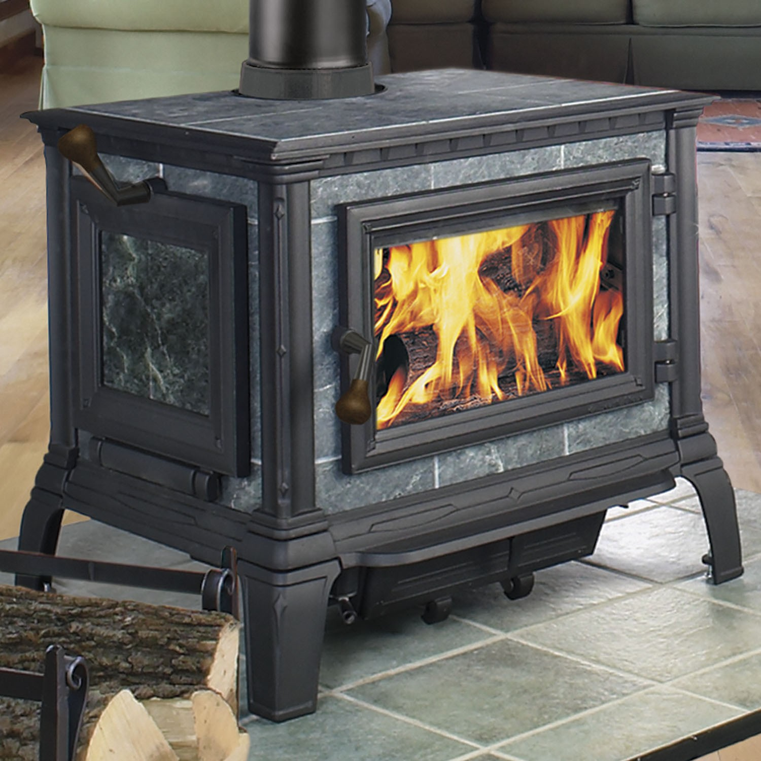 "Hearthstone Equinox wood stove is the largest soapstone stove made.  Front and side load, 8"" flue outlet, spectacular heat output, burn-time and heatlife."