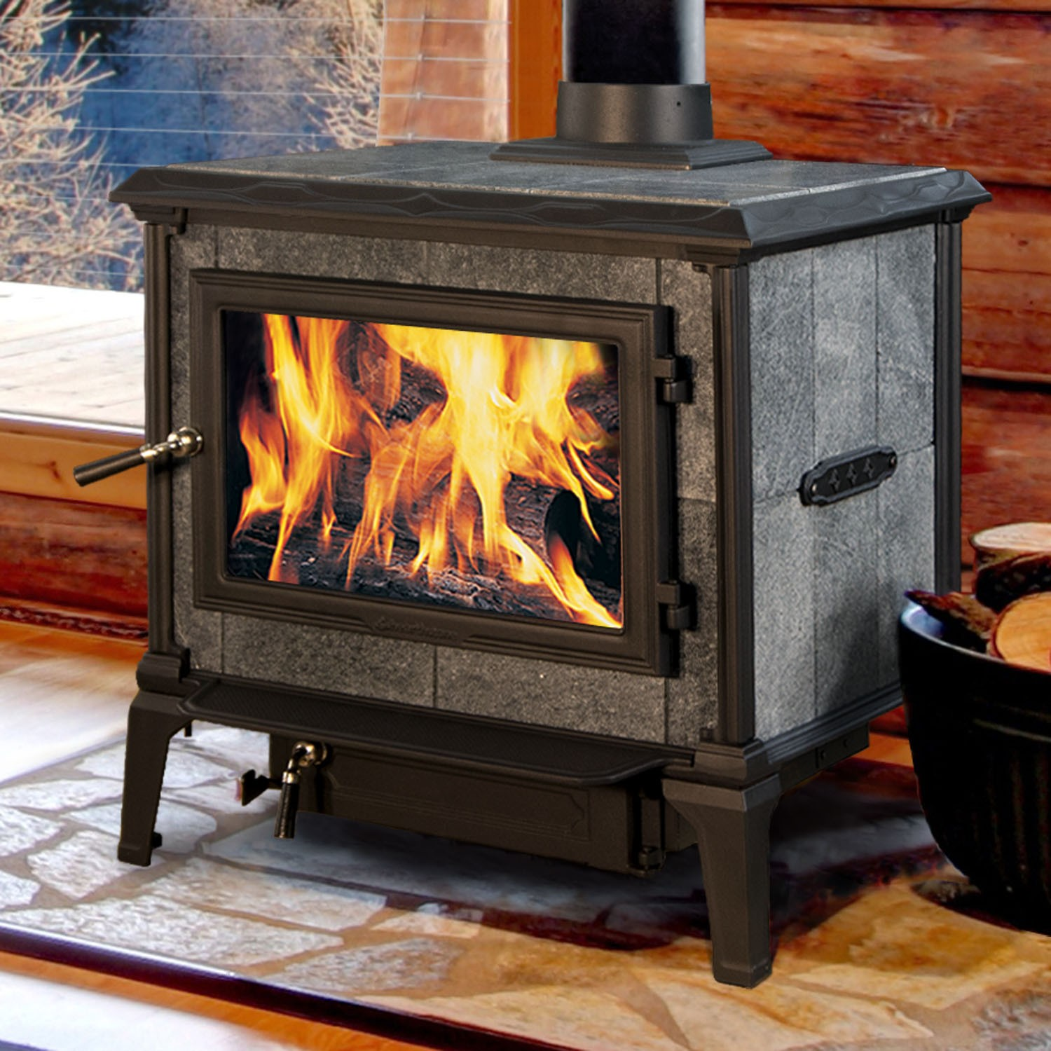 Hearthstone Mansfield wood burning stove is a heavy weight only surpassed by the Equinox.  Front load only. Made in USA