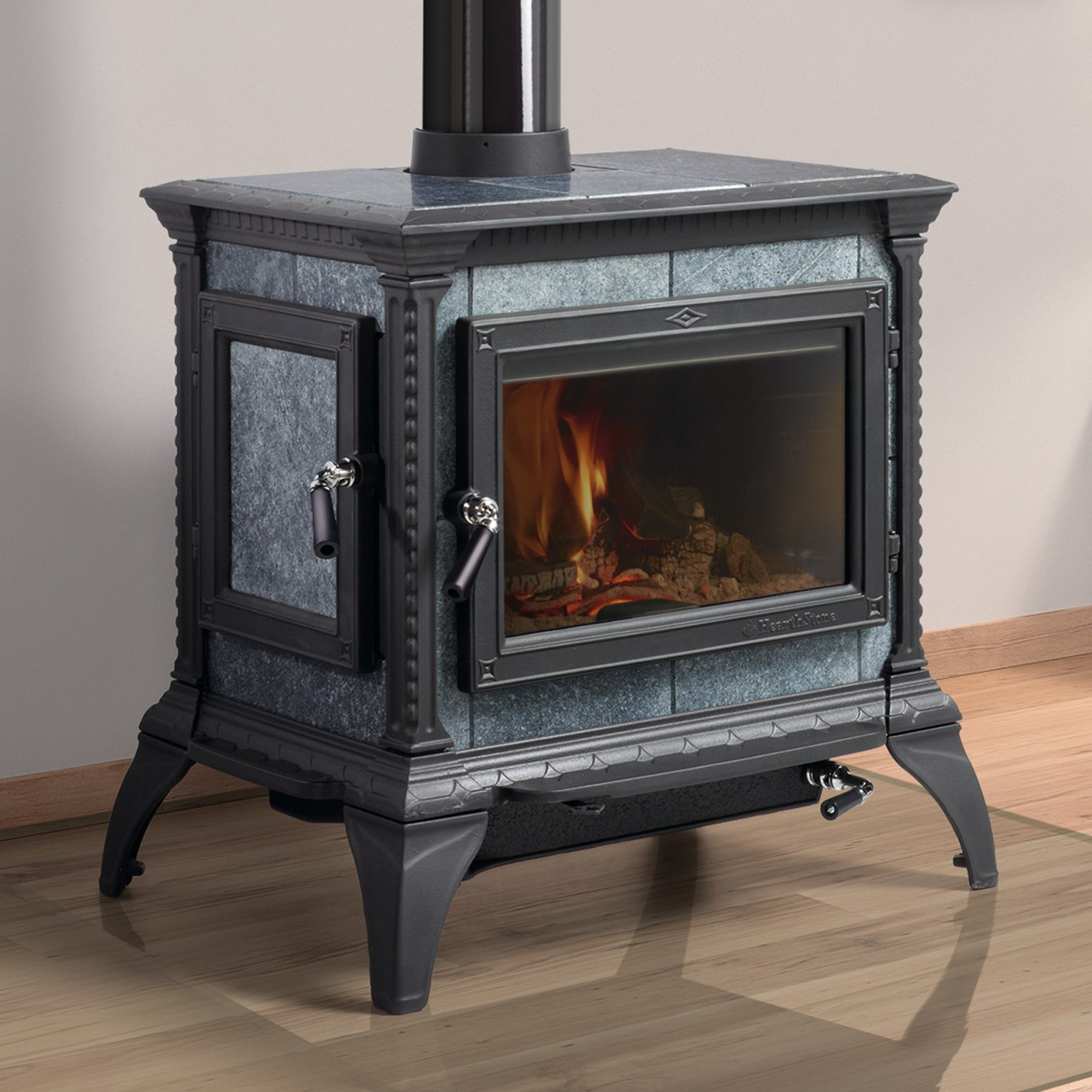 Hearthstone Heritage woodstove offers front and side load in a popular upper-middle power range.  This soapstone stove has been a best seller for years.  Recently updated new legs that help with certain hearthpad requirements.  Made in USA