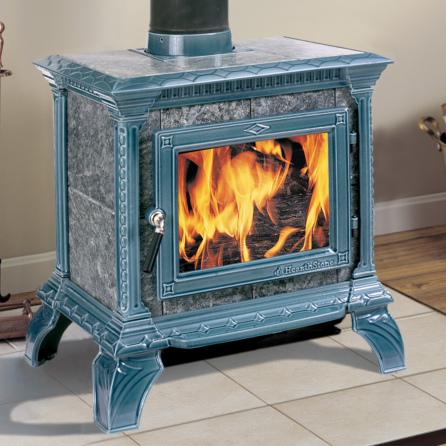 Hearthstone Tribute wood stove.  Smallest soapstone stove of the line.  Shown in Seafoam Green enamel finish.  Made in USA
